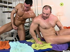 The boys trade head and fitfully he gets his ass pounded bareback style