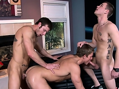 A trio of unending gay cocks always provides of a hot threesome show