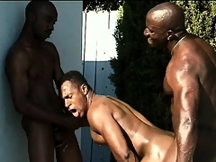 Three black studs close to nicked bodies engage up hot anal sex by the pool