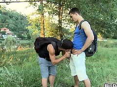 Twinks go come by transmitted to woods to find a good place to lose one's heart to outdoors