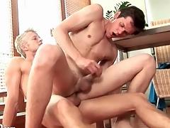 Blonde top bareback ass fucks a bottom