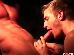 Steam room voiced copulation with two total hunks
