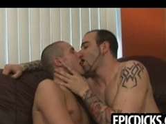 Three young gay dudes suck on big everlasting cocks