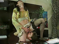 A lad in a petticoat bonks her fixture