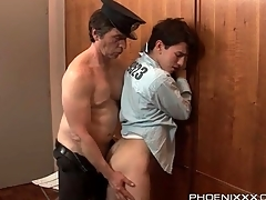 Horny guard gets his dick sucked by a under lock