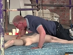 Blissful daddy blows the cute twink connected with slavery