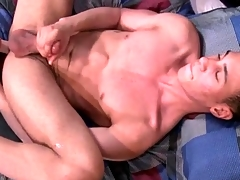 Solo boy fucks a plaything and dreams of anal sexual congress