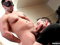 Thick guy gets a blowjob and has an orgasm