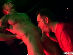 Male stripper gets his dick sucked on stage