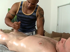 Exciting cock sucking and immoral handjob for hot gay blank out