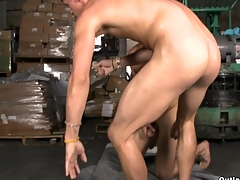 Teen and fresh-looking guy gets fucked at make an issue of warehouse in his super tight asshole.