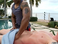 White boy has a nice black dude make him an awesome massage!