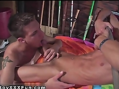 Hot twink Jace and Troy kiss, munch and blow every sleek inc