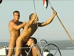 Gay studs sea-coast on a yacht and spend the day sucking and banging ass