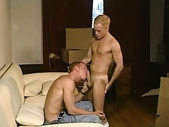 Sexy blonde twink loves to work his scorching anal hole on a diseased prick