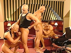 Business is done and the fun begins with a hard pounding gay foursome